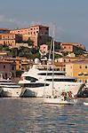Italy, Elba, Portoferraio Harbor, yachts Mediterranean moored, (backed into quay), Portoferraio also known as Porto Ferraio, Porto Argo, Province of Livorno; Mediterranean Sea; Tyrrhenian Sea; Tuscan archipelago, West coast of Italy, Europe,