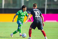 LAKE BUENA VISTA, FL - JULY 14: Raul Ruidiaz #9 of the Seattle Sounders dribbles the ball during a game between Seattle Sounders FC and Chicago Fire at Wide World of Sports on July 14, 2020 in Lake Buena Vista, Florida.