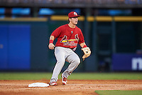 Palm Beach Cardinals second baseman Dylan Tice (8) waits for a throw during a game against the Bradenton Marauders on August 8, 2016 at McKechnie Field in Bradenton, Florida.  Bradenton defeated Palm Beach 5-4 in 11 innings.  (Mike Janes/Four Seam Images)