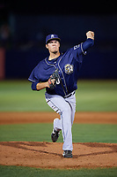 San Antonio Missions relief pitcher Brad Wieck (50) delivers a pitch during a game against the Tulsa Drillers on June 1, 2017 at ONEOK Field in Tulsa, Oklahoma.  Tulsa defeated San Antonio 5-4 in eleven innings.  (Mike Janes/Four Seam Images)