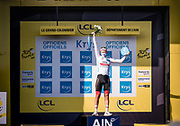 white jersey / best young rider Tadej Pogačar (SVK/UAE-Emirates) on the podium<br /> <br /> Stage 15 Lyon to Grand Colombier (175km)<br /> <br /> 107th Tour de France 2020 (2.UWT)<br /> (the 'postponed edition' held in september)<br /> <br /> ©kramon