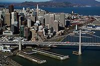 aerial photograph Bay Bridge Embarcadero San Francisco skyline