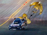 Jul 28, 2017; Sonoma, CA, USA; NHRA funny car driver Del Worsham goes sideways in the shutdown area during qualifying for the Sonoma Nationals at Sonoma Raceway. Mandatory Credit: Mark J. Rebilas-USA TODAY Sports