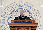 May 22, 2011; U.S. Secretary of Defense Robert Gates gives the 2011 Commencement Address at the 2011 Notre Dame Commencement ceremony in Notre Dame Stadium...Photo by Joe Raymond/University of Notre Dame