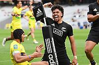 22nd May 2021; Eden Park, Auckland New Zealand; All Blacks Sevens versus Australia, Trans-Tasman Sevens;  Kitione Vai celebrates his try.