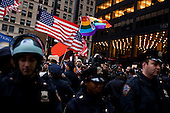 """New York, New York<br /> November 17, 2011<br /> <br /> """"Occupy Wall Street"""" protesters mark the movement's two-month milestone by marching from Zuccotti Park, in mass, to various access streets surrounding the New York Stock Exchange, which the police had barricaded off. Yet instead of the police keeping protesters out, protesters locked down those entrances to Wall Street and the New York Stock Exchange creating havoc as the police made more then 240 arrests to try and keep the streets open to normal traffic.<br /> <br /> Protesters begin their march stepping off from the Harriman Foundation Square down Cedar Street towards the NYSE."""