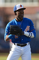 Vidal Brujan (2) of the Durham Bulls warms up in the outfield prior to the game against the Jacksonville Jumbo Shrimp at Durham Bulls Athletic Park on May 15, 2021 in Durham, North Carolina. (Brian Westerholt/Four Seam Images)