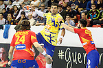 Spain's Viran Morros de Argila (l) and Eduardo Gurbindo (r) and Bosnia Herzegovina's Nikola Prce during 2018 Men's European Championship Qualification 2 match. November 2,2016. (ALTERPHOTOS/Acero)