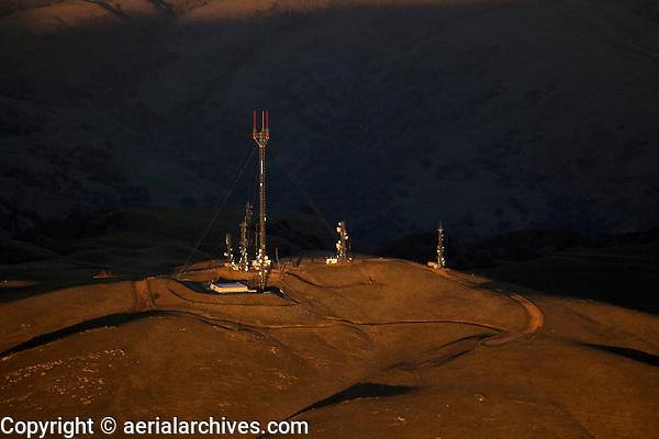 aerial photograph of mountain top telecommunications towers, Santa Clara County, California