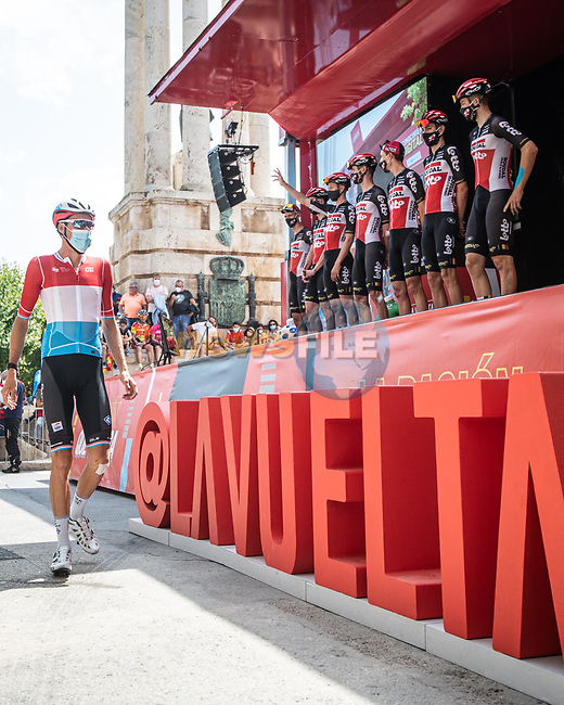 Lotto-Soudal at sign on before the start of Stage 6 of La Vuelta d'Espana 2021, running 158.3km from Requena to Alto de la Montaña Cullera, Spain. 19th August 2021.    <br /> Picture: Charly Lopez/Unipublic | Cyclefile<br /> <br /> All photos usage must carry mandatory copyright credit (© Cyclefile | Unipublic/Charly Lopez)