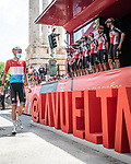 Lotto-Soudal at sign on before the start of Stage 6 of La Vuelta d'Espana 2021, running 158.3km from Requena to Alto de la Montaña Cullera, Spain. 19th August 2021.    <br /> Picture: Charly Lopez/Unipublic   Cyclefile<br /> <br /> All photos usage must carry mandatory copyright credit (© Cyclefile   Unipublic/Charly Lopez)