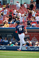 Reading Fightin Phils second baseman Brandon Bednar (19) runs to first base during the first game of a doubleheader against the Portland Sea Dogs on May 15, 2018 at FirstEnergy Stadium in Reading, Pennsylvania.  Portland defeated Reading 8-4.  (Mike Janes/Four Seam Images)