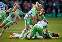 Football, Koeln, Germany , DFB-Pokalfinale wifeen,, <br />VFL Wolfsburg (WOB ) vs. FC Bayern M Muenchen 3-2 n.E.  Rhein-Energie stadium  in Koeln19. 05. 2018<br />Joelle  WEDEMEYER (VFL) , Pernille HADER (VFL) ,Noelle MARITZ (VFL) and Zsanett JAKABFI (VFL)  *** Local Caption *** © pixathlon<br /> Contact: +49-40-22 63 02 60 , info@pixathlon.de