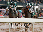 """LEXINGTON, KY - October 8, 2017. #11 Romantic Vision and jockey Brian Hernandez Jr. win the 62nd running of the Juddmonte Spinster Grade 1 $500,000 """"Win and You're In Breeders' Cup Distaff Division"""" for owner G. Watts Humphrey Jr. and trainer George Arnold at Keeneland Race Course.  Lexington, Kentucky. (Photo by Candice Chavez/Eclipse Sportswire/Getty Images)"""
