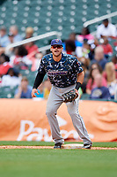 Jacksonville Jumbo Shrimp first baseman Taylor Ard (32) during a game against the Birmingham Barons on April 24, 2017 at Regions Field in Birmingham, Alabama.  Jacksonville defeated Birmingham 4-1.  (Mike Janes/Four Seam Images)