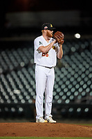 Mesa Solar Sox relief pitcher Brady Feigl (26), of the Oakland Athletics organization, during an Arizona Fall League game against the Scottsdale Scorpions on September 18, 2019 at Sloan Park in Mesa, Arizona. Scottsdale defeated Mesa 5-4. (Zachary Lucy/Four Seam Images)