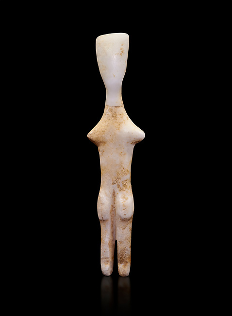 Abstract Cycladic figurine , Louris type, from Naxos, 2800-2500 BC, Museum of Cycladic Art Athens,   Against black<br /> <br /> The figurine has no facial features and is of no determinable sex. The figureine is of the Louros typle, named after a site in Naxos and with stuby arms is considered to be an abstract development of the Plastiras type, of which it retains such traits and naturalistically separated legs and horizontal feet. The arms have been reduced to two protuberances at shoulder level and all anitomical features have virtually disappeared.