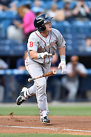 Greenville Drive center fielder Tate Matheny (16) swings at a pitch during a game against the  Asheville Tourists at McCormick Field on May 24, 2016 in Asheville, North Carolina. The Tourists defeated the Drive 17-7. (Tony Farlow/Four Seam Images)
