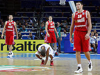 French national basketball team player Tony Parker reacts after victory in semifinal basketball game between France and Russia in Kaunas, Lithuania, Eurobasket 2011, Friday, September 16, 2011. (photo: Pedja Milosavljevic)