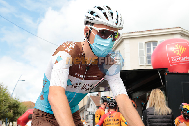 Romain Bardet (FRA) AG2R La Mondiale arrives at sign on before Stage 3 of the Route d'Occitanie 2020, running 163.5km from Saint-Gaudens to Col de Beyrède, France. 3rd August 2020. <br /> Picture: Colin Flockton   Cyclefile<br /> <br /> All photos usage must carry mandatory copyright credit (© Cyclefile   Colin Flockton)