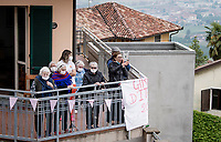 some elderly fans cheering for the riders up the 15% climb in Guarene, 15 kilometers from the finish <br /> <br /> 104th Giro d'Italia 2021 (2.UWT)<br /> Stage 3 from Biella to Canale (190km)<br /> <br /> ©kramon