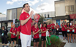 Welsh AM Ken Skates speaks to the team prior to the welcoming ceremony <br /> <br /> *This image must be credited to Ian Cook Sportingwales and can only be used in conjunction with this event only*<br /> <br /> 21st Commonwealth Games - Wales Welcoming ceremony - Athletes Village - 03/04/2018 - Gold Coast City - Australia