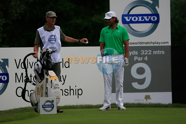 Johan Edfors (SWE) prepares to tee off on the 9th tee during Day 2 of the Volvo World Match Play Championship in Finca Cortesin, Casares, Spain, 20th May 2011. (Photo Eoin Clarke/Golffile 2011)