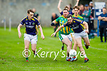 Knocknagoshel's John O'Keeffe been tackled by Donncha O'Brosnacháin of Lispole in the County Football league division 4 relegation game.