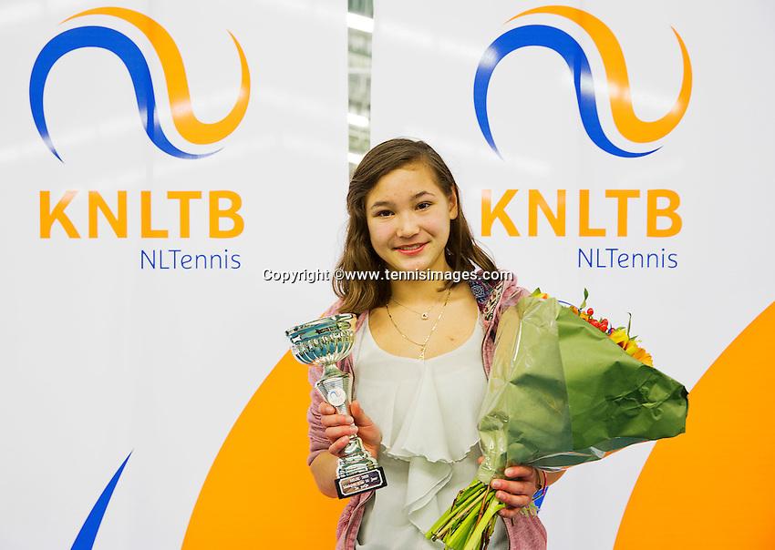 March 15, 2015, Netherlands, Rotterdam, TC Victoria, NOJK,  girls 14 years  runner up Roos van Reek <br /> Photo: Tennisimages/Henk Koster