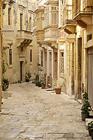 Vittoriosa, Birgu, Malta.  Residential Street containing the Auberge d'Angleterre, NW Mistral Street.