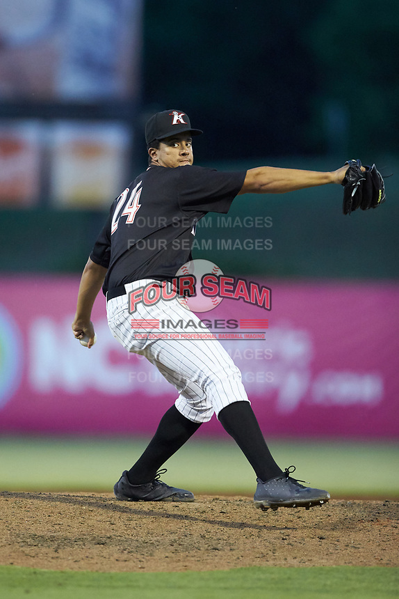 Kannapolis Intimidators relief pitcher Andrew Perez (24) in action against the Lakewood BlueClaws at Kannapolis Intimidators Stadium on July 7, 2018 in Kannapolis, North Carolina. The Intimidators defeated the BlueClaws 4-3 in 10 innings.  (Brian Westerholt/Four Seam Images)