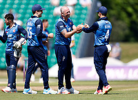 Darren Stevens of Kent is congratulated by Heino Kuhn after taking the wicket of David Bedingham during Kent Spitfires vs Durham, Royal London One-Day Cup Cricket at The Spitfire Ground on 22nd July 2021