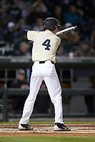 D.J. Poteet (4) of the Wake Forest Demon Deacons at bat against the Charlotte 49ers at BB&T BallPark on March 13, 2018 in Charlotte, North Carolina.  The 49ers defeated the Demon Deacons 13-1.  (Brian Westerholt/Four Seam Images)
