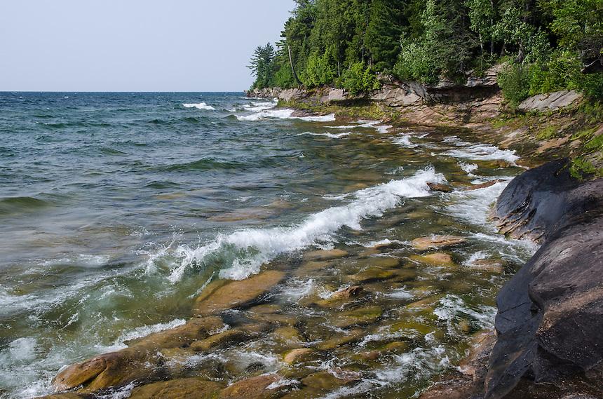 A beautiful summer day along the rock Lake Superior shoreline. AuTrain, MI