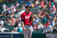 Tacoma Rainiers relief pitcher Lindsey Caughel (13) during a Pacific Coast League against the Sacramento RiverCats at Raley Field on May 15, 2018 in Sacramento, California. Tacoma defeated Sacramento 8-5. (Zachary Lucy/Four Seam Images)