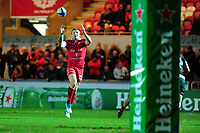 Hadleigh Parkes of Scarlets in action during the Heineken Champions Cup round 5 match between the Scarlets and Leicester Tigers at the Parc Y Scarlets Stadium in Llanelli, Wales, UK. Saturday 12th January 2019