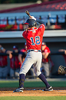 Jordan Edgerton (18) of the Danville Braves at bat against the Burlington Royals at Burlington Athletic Park on July 5, 2014 in Burlington, North Carolina.  The Royals defeated the Braves 5-4.  (Brian Westerholt/Four Seam Images)