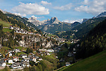 Italy, South Tyrol, Alto Adige, Dolomites, San Cristina in Val Gardena with Gran Cir mountain and Sella Group (right)   Italien, Suedtirol, Dolomiten, Groednertal, St. Christina in Groeden mit Grosser Cirspitze und Sellagruppe (rechts)