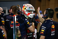 27th March 2021; Sakhir, Bahrain; F1 Grand Prix of Bahrain, Qualifying sessions;  VERSTAPPEN Max (ned), Red Bull Racing Honda RB16B is congratulated by boss Cristian Horner for taking pole position, at Formula 1 Gulf Air Bahrain Grand Prix 2021 qualifying
