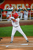 Jahmai Jones (15) of the Orem Owlz at bat against the Billings Mustangs in Pioneer League action at Home of the Owlz on July 25, 2016 in Orem, Utah. Orem defeated Billings 6-5. (Stephen Smith/Four Seam Images)
