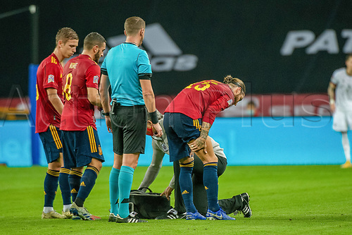 17th November 2020;  Estadio La Cartuja de Sevilla, Seville, Spain; UEFA Nations League Football, Spain versus Germany;   Sergio Ramos (esp) receives treatment
