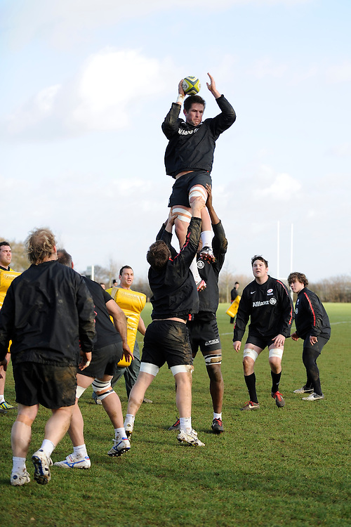 20130131 Copyright onEdition 2013©.Free for editorial use image, please credit: onEdition..Ernst Joubert of Saracens practises the lineout drills during the Saracens Captains Run at Old Albanians Rugby Club, St Albans on Thursday 31st January 2013 (Photo by Rob Munro)..For press contacts contact: Sam Feasey at brandRapport on M: +44 (0)7717 757114 E: SFeasey@brand-rapport.com..If you require a higher resolution image or you have any other onEdition photographic enquiries, please contact onEdition on 0845 900 2 900 or email info@onEdition.com.This image is copyright onEdition 2013©..This image has been supplied by onEdition and must be credited onEdition. The author is asserting his full Moral rights in relation to the publication of this image. Rights for onward transmission of any image or file is not granted or implied. Changing or deleting Copyright information is illegal as specified in the Copyright, Design and Patents Act 1988. If you are in any way unsure of your right to publish this image please contact onEdition on 0845 900 2 900 or email info@onEdition.com