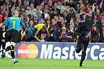 Football - FC Barcelona v Inter Milan UEFA Champions League Semi Final Second Leg - Camp Nou Stadium, Barcelona, Spain - 28/4/10 Inter Milan's coach Jose Mourinho celebrating after winning the match and Victor Valdes of Barcelona