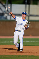 Bluefield Blue Jays third baseman Davis Schneider (8) throws to first base during the first game of a doubleheader against the Bristol Pirates on July 25, 2018 at Bowen Field in Bluefield, Virginia.  Bluefield defeated Bristol 6-3.  (Mike Janes/Four Seam Images)
