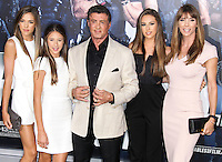 HOLLYWOOD, LOS ANGELES, CA, USA - AUGUST 11: Sistine Rose, Scarlet Rose Stallone, Sylvester Stallone, Sophia Rose Stallone, Scarlet Rose Stallone, Jennifer Flavin Stallone at the Los Angeles Premiere Of Lionsgate Films' 'The Expendables 3' held at the TCL Chinese Theatre on August 11, 2014 in Hollywood, Los Angeles, California, United States. (Photo by Xavier Collin/Celebrity Monitor)