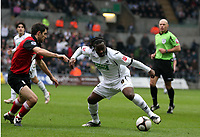 Pictured: Jason Scotland of Swansea (R) against Aaron Hughes of Fulham (L)<br /> Re: FA Cup Fifth Round, Swansea City FC v Fulham at the Liberty Stadium. Swansea, south Wales, Saturday 14 February 2009<br /> Picture by D Legakis Photography / Athena Picture Agency, Swansea 07815441513