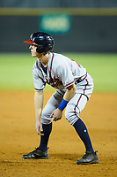 Drew Waters (12) of the Danville Braves takes his lead off of first base against the Burlington Royals at Burlington Athletic Stadium on August 15, 2017 in Burlington, North Carolina.  The Royals defeated the Braves 6-2.  (Brian Westerholt/Four Seam Images)