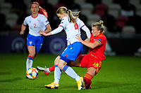 Birita Ryan of Faroe Islands Women's vies for possession with Jacoba Langgaard of Faroe Islands Women's during the UEFA Women's EURO 2022 Qualifier match between Wales Women and Faroe Islands Women at Rodney Parade in Newport, Wales, UK. Thursday 22 October 2020