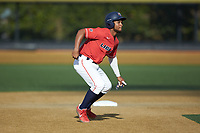 D.J. Artis (1) of the Liberty Flames takes his lead off of second base against the Wake Forest Demon Deacons at David F. Couch Ballpark on April 25, 2018 in  Winston-Salem, North Carolina.  The Demon Deacons defeated the Flames 8-7.  (Brian Westerholt/Four Seam Images)