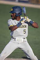 Michigan Wolverines outfielder Christian Bullock (5) at bat during the NCAA baseball tournament against the Connecticut Huskies on June 4, 2021 at Frank Eck Stadium in Notre Dame, Indiana. The Huskies defeated the Wolverines 6-1. (Andrew Woolley/Four Seam Images)